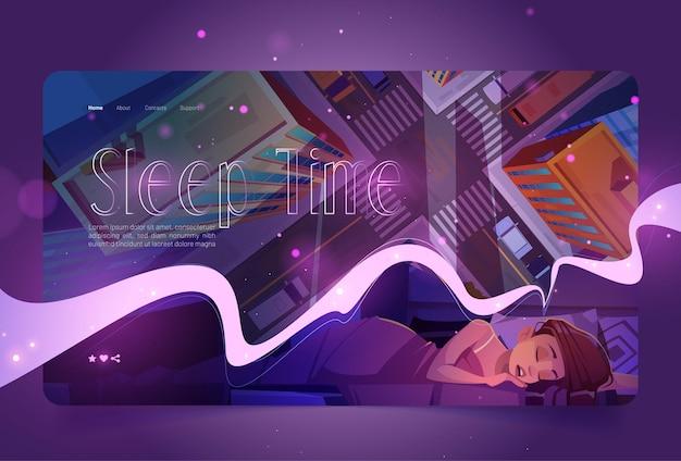 Веб-сайт времени сна с женским дремотой и видом сверху векторной целевой страницы городской улицы с мультяшным рисунком ...
