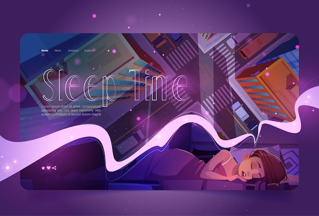 Sleep time website with woman naps and top view of city street vector landing page with cartoon illu...
