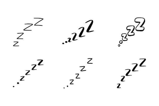 Sleep zzzz doodle symbol set. sleepy dream icon. doodle comic sketch style vector illustration.
