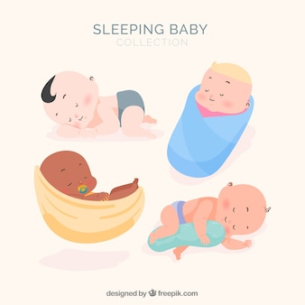 Sleeping baby collection with flat design