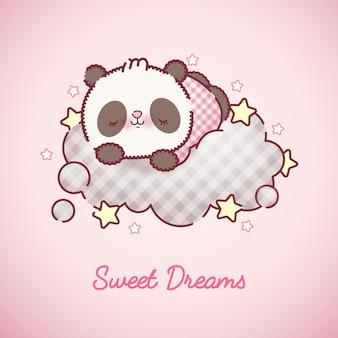 Sleeping baby panda bear cartoon premium vector