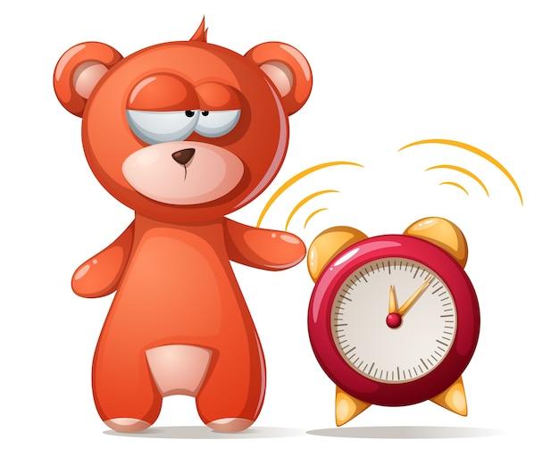 Sleeping bear illustration. funny, cute alarm clock.