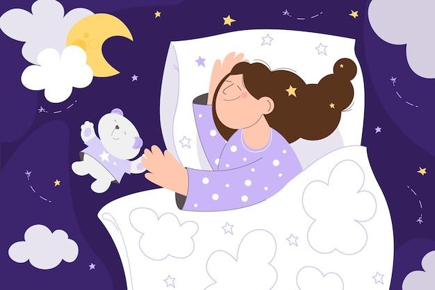 잠자는 아름다운 어린 소녀와 귀여운 테디 베어 침대에서 잠자는 여자 벡터 이미지