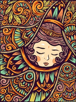 Sleeping Beauty Girl Etnic Flower Mandala Background
