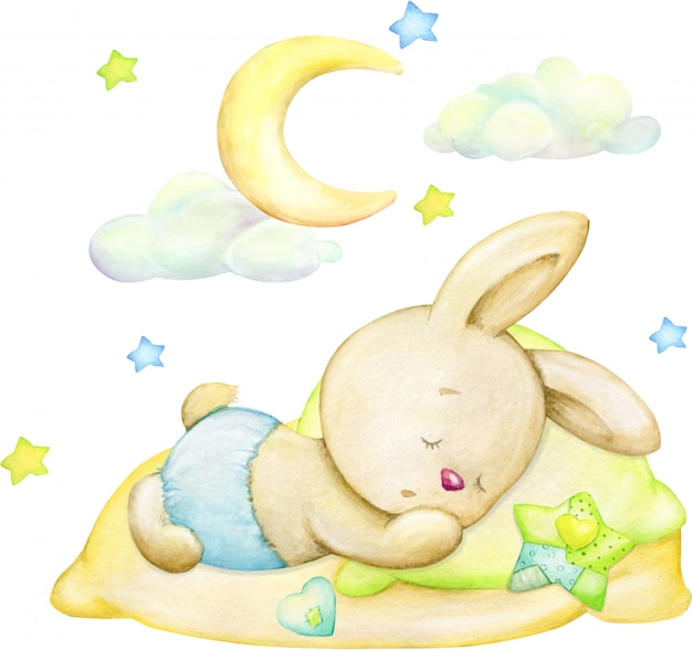 Sleeping bunny, moon, stars, clouds. watercolor concept on an isolated background.