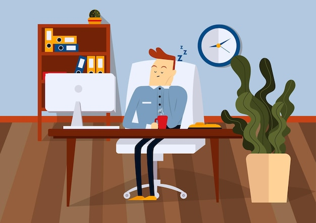 컴퓨터 책상에 사무실의 자에 앉아 잠자는 사업가. 그는 손에 커피 한 잔을 들고 있습니다. 색 벡터 만화 일러스트 레이 션