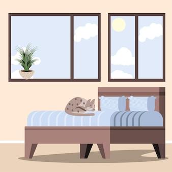 Sleeping cat in bed