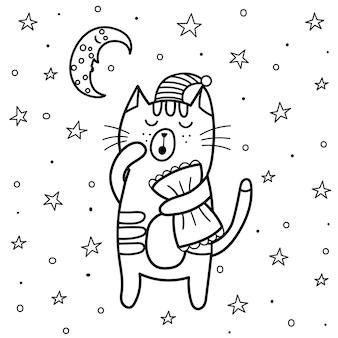 잠자는 고양이 색칠 페이지. 달과 별이있는 좋은 밤 색칠하기 책. 달콤한 꿈 벡터 일러스트 레이 션