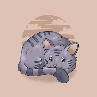 Sleeping cat illustration vector grunge style