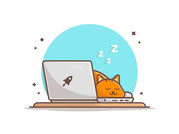 Sleeping cat on laptop illustration