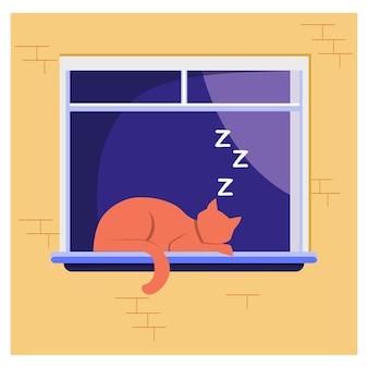 창에 누워 잠자는 고양이. 애완 동물, 집, 바람둥이 평면 벡터 일러스트 레이 션. 가축과 휴식 개념