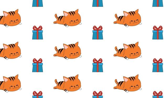 シームレスなパターンでギフトボックスと眠っている猫。ギフト包装のデザイン。