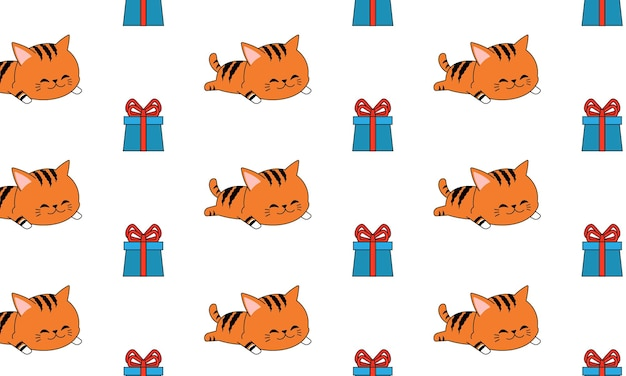 Sleeping cat with gift box in seamless pattern. design for your gift wrap.