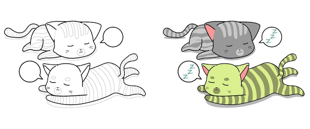 Sleeping cats cartoon coloring page for kids