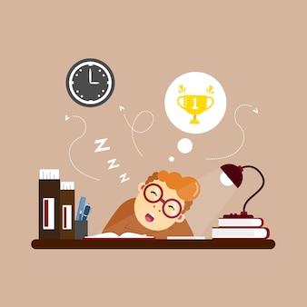 Иллюстрация спящего персонажа