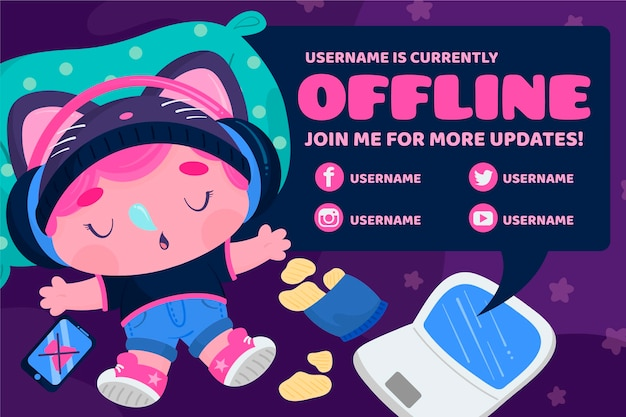 Sleeping character twitch offline banner template