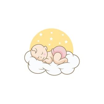 잠자는 귀여운 아기 로고 디자인 템플릿