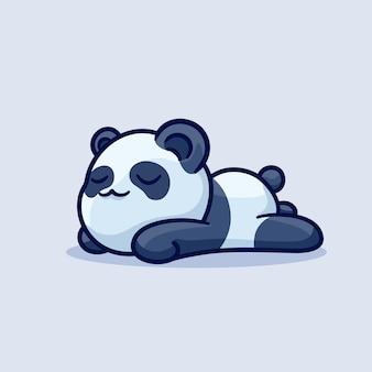 Sleeping cute panda lazy cartoon