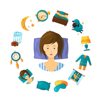 Sleeping disorder concept illustration with cartoon sleep elements around nonsleeping woman person