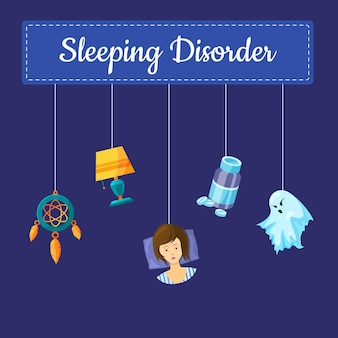 Sleeping disorder concept illustration with cartoon sleep elements hanging on threads with place for text