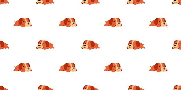 Sleeping dog seamless pattern background cartoon style
