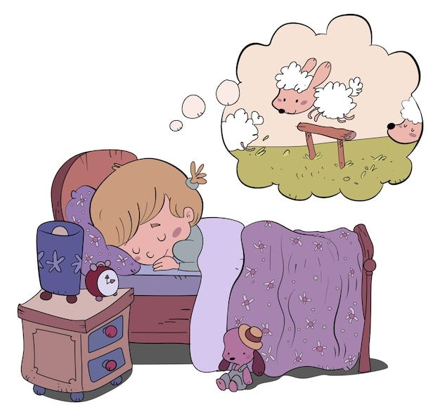 Sleeping girl dreaming about sheep