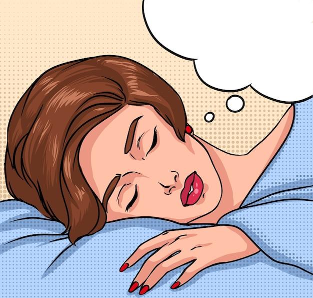 眠っている少女。テキストの美しいブルネットの女性と吹き出しの肖像画。カラフルなコミックベクトルポップなアートスタイルのイラスト。