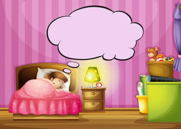 A sleeping girl and a speech bubble