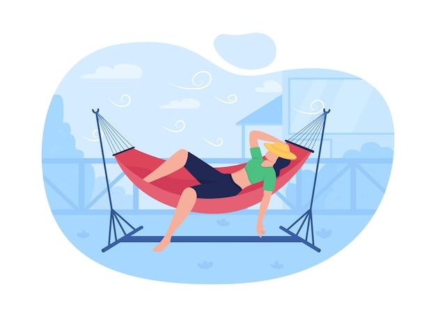 Sleeping in hammock 2d web,
