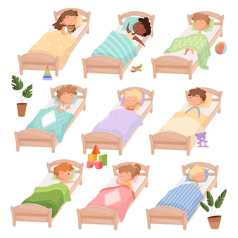 Sleeping kindergarten. tired boys and girls little kids in beds quiet hour casual daytime  characters.