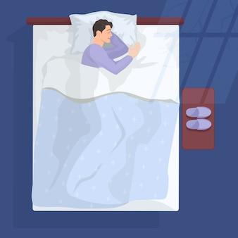 Sleeping man in bad