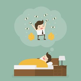 잠자는 남자는 많은 돈을 꿈꾸고 있습니다.