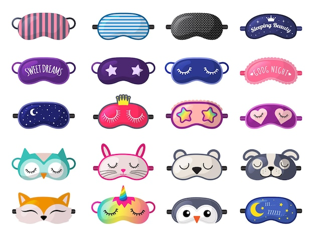 Sleeping mask. funny clothes for sleepover rest relax night accessories  collection.