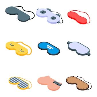 Sleeping mask icons set, isometric style