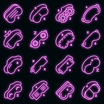 Sleeping mask icons set. outline set of sleeping mask vector icons neon color on black