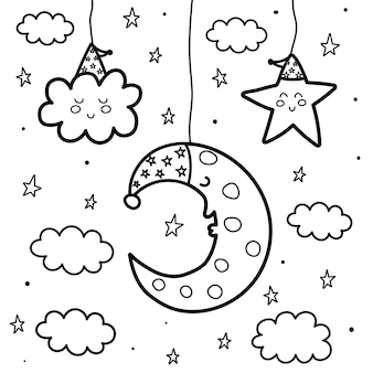 Sleeping moon and star at night coloring page. sweet dreams black and white card. outline fantasy illustration