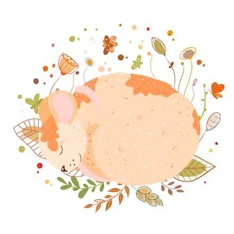 眠っているマウス-かわいい漫画の動物、イラスト。