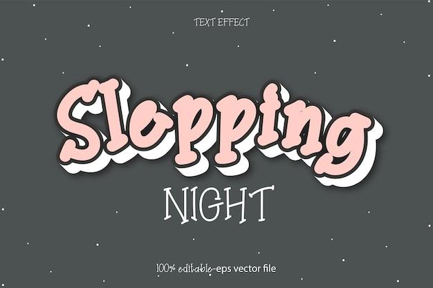 Спящая ночь текстовый эффект дизайн вектор