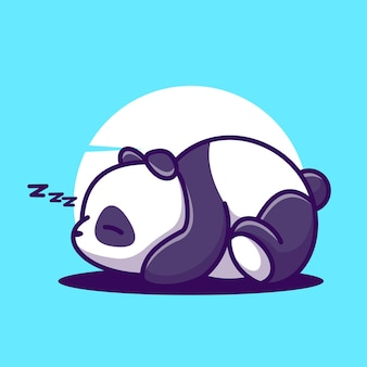 Sleeping panda cartoon vector icon illustration