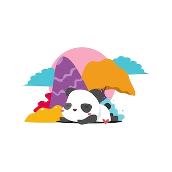 A sleeping panda with colorful backgound