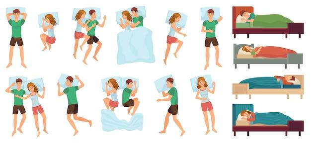 잠자는 사람. 성인 부부는 함께 자고, 잠자는 사람.