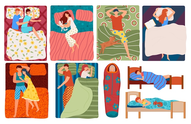 Sleeping people in bed set of illustrations