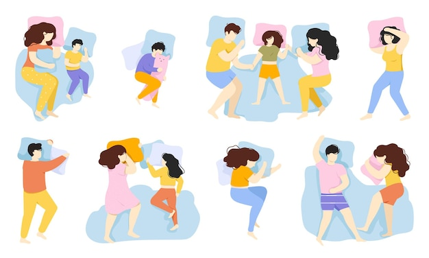 Sleeping people. man, woman and child sleep pose, male and female characters