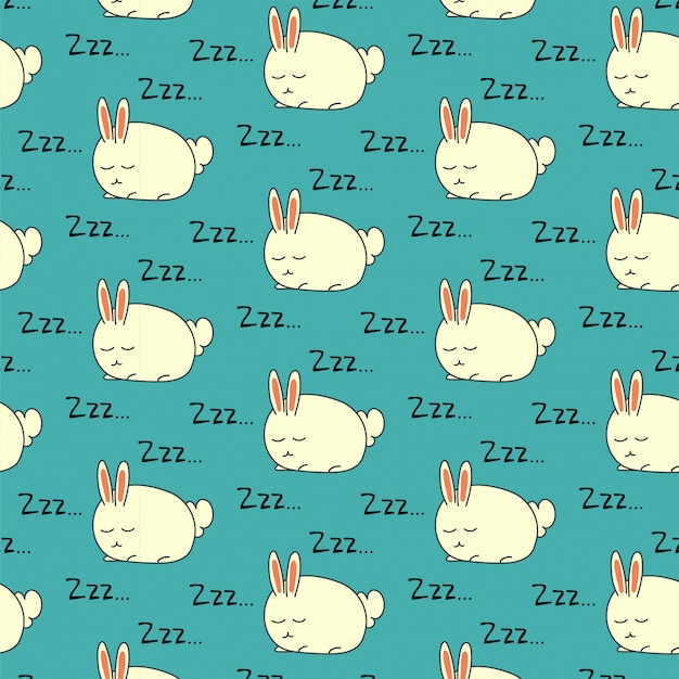 Sleeping rabbit seamless pattern on green