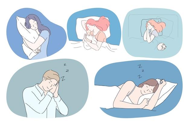 睡眠、リラクゼーション、快適な休息のコンセプト。若い女性と男性が一人で、または子供が毛布の下に枕を置いてベッドで昼寝をし、さまざまなポーズで寝ている