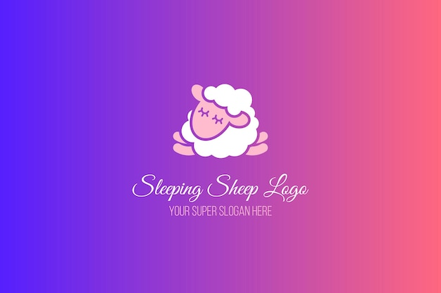 Sleeping sheep flat banner template. calligraphic lettering on gradient background. logo design