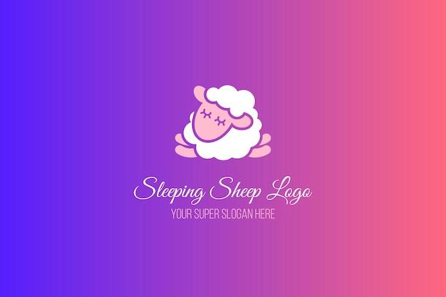 眠っている羊のフラットバナーテンプレート。グラデーションの背景に書道のレタリング。ロゴデザイン