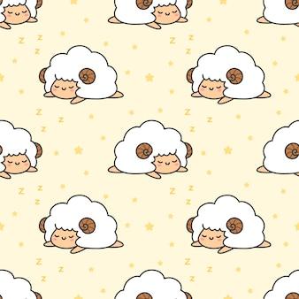 Sleeping sheep seamless pattern background