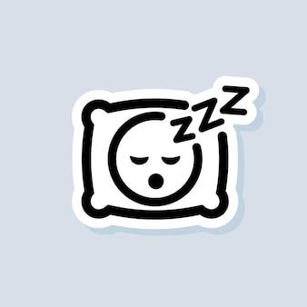 Спящая наклейка, логотип, значок. вектор. подушка. спать. образ человека, спящего в постели на подушке с каким-то сонным звуком. отдых, расслабление, восстановление. вектор eps 10