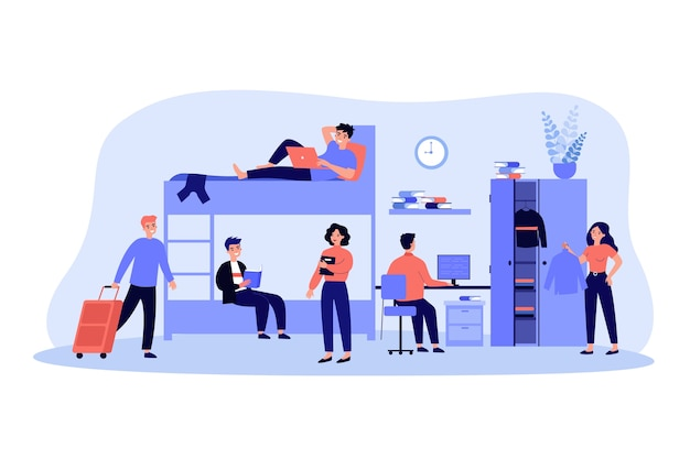Sleeping and studying in academic year flat illustration